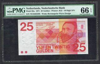 Netherlands 25 Gulden 1971 Sweelinck Pmg Gem Unc 66epq P92a photo