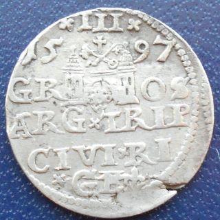 Rare Silver 1597 Poland Sigmund Iii 3 Groschen Grossus Trojak Grade Msb143 photo
