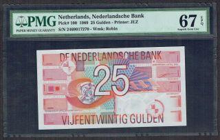 Netherlands 25 Gulden 1989 Roodborstje / Robin Pmg Gem Unc 67epq P100 photo