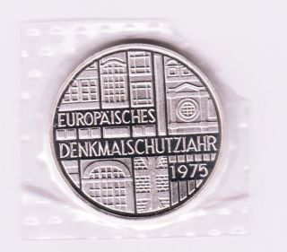 Germany Federal Republic 5 Mark 1975 F - European Monument - Silver Coin photo