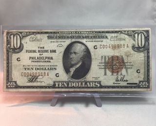 1929 $10 Small National Federal Reserve Bank Of Philadelphia (190) photo