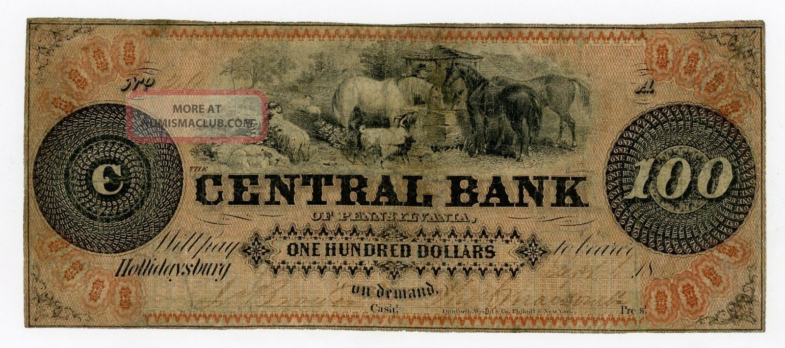 1800 ' S $100 The Central Bank - Hollidaysburg,  Pennsylvania Note Paper Money: US photo