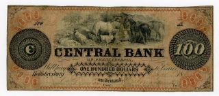 1800 ' S $100 The Central Bank - Hollidaysburg,  Pennsylvania Note photo