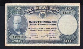 1926 Albania Paper Money,  20fr.  Ar.  Sign Alberti R2. photo