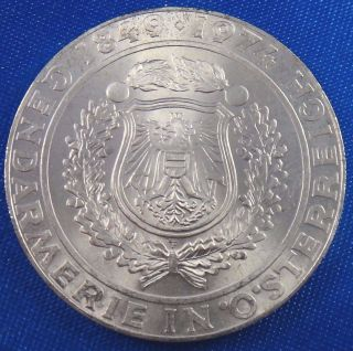 1974 Austria 50 Schilling Silver Coin 125th Anniversary - Austrian Police Force photo