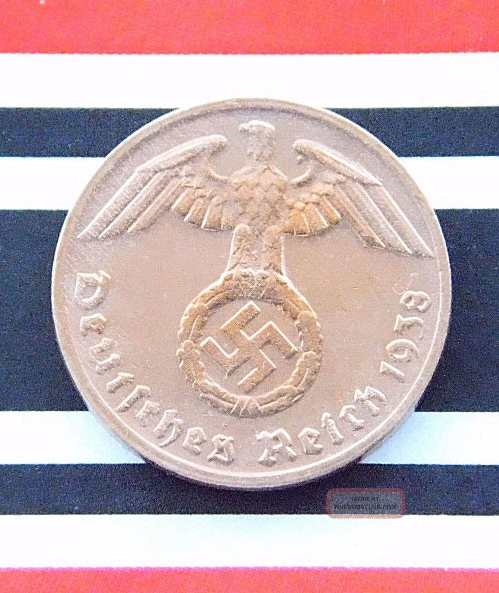 Rare German Coin 1 Reichspfennig 1938 G Copper Third Reich Swastika