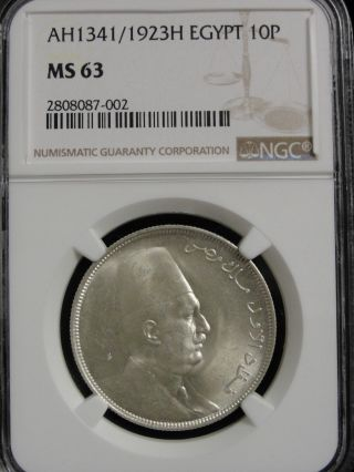 Ah1341 / 1923h Egypt 10 Piastres Silver Coin Graded Ms63 By Ngc photo