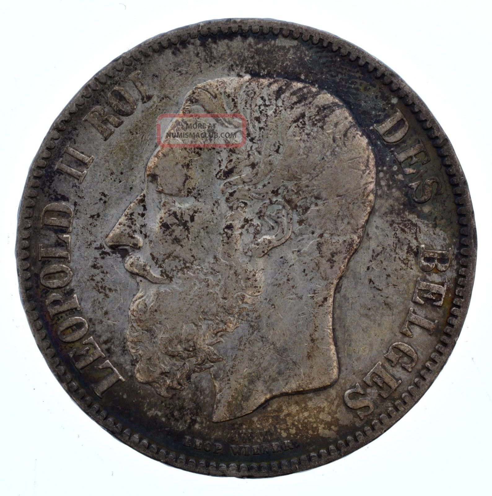 Belgium Authentic 1873 5 Five Franc Leopold Ii Silver Dollar Size Coin Europe photo