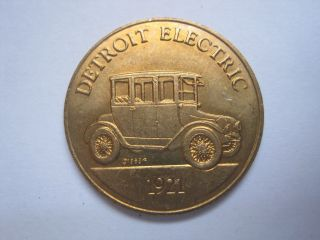 Detroit Electric 1921 Antique Car Token Coin Medal photo