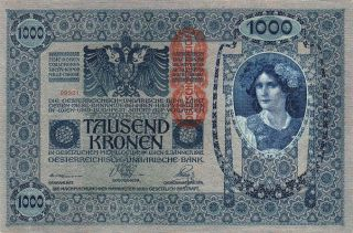 Austria Hungary 1000 Kronen 1902 Vf P.  59 Big Size photo