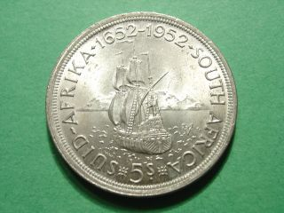 South Africa 5 Shilling 1952 Silver Crown Uncirculated photo