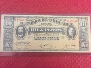 1914 El Estado De Chihuahua Mexico Diez Pesos Bank Note Bill 10 Pesos photo