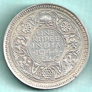 British India - 1944 - King George Vi Emperor - One Rupee - Silver Coin photo