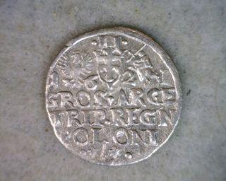 Poland 3 Groschen 1621 V.  Fine Silver Coin (stock 0707) photo