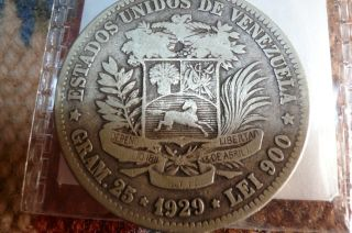 1929 Venezuela 5 Bolivares Silver Coin photo