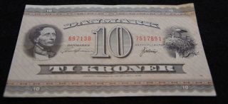 1970 - 71 10 Kroner Danmark Bank Note In Fine Extremely Note photo