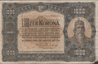 Hungary 1000 Korona 1.  1.  1920 P 66a Series B 21 Circulated Banknote photo