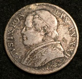 1867 Xxiir Silver Italy Papal States Lira Pius Ix Coin - Rome photo