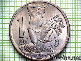 Czechoslovakia 1923 Koruna,  Woman With Sheaf And Sickle,  Unc photo