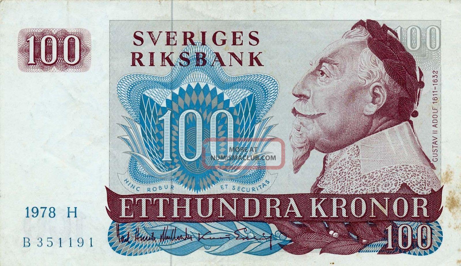 Sveriges Riksbank Sweden 100 Kronor 1978 Ef Europe photo