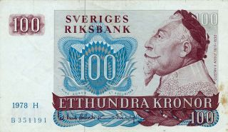 Sveriges Riksbank Sweden 100 Kronor 1978 Ef photo