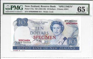 Zealand,  Reserve Bank - $10,  Nd (1981 - 92).  Specimen (tdlr).  Pmg 66epq.  Rare. photo