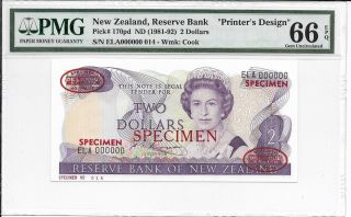 Zealand,  Reserve Bank - $2,  Nd (1981 - 92).  Specimen (tdlr).  Pmg 66epq.  Rare. photo