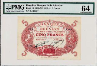 Banque De La Reunion Reunion 5 Francs Nd (1912) Pmg 64 photo