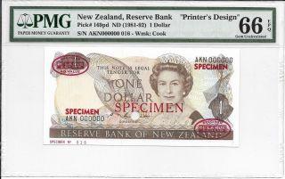 Zealand,  Reserve Bank - $1,  Nd (1981 - 92).  Specimen (tdlr).  Pmg 66epq.  Rare. photo