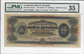 Commonwealth Of Australia - 10 Shillings,  Nd (1918).  Pmg 35.  Ef.  Rare. photo