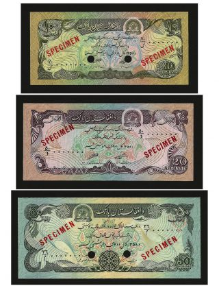 Afghanistan 10,  20,  50 Afghanis 1979 P55s,  P56s,  P57s Unc photo