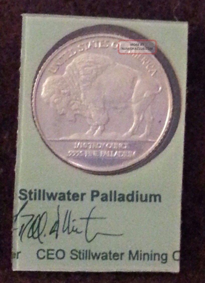 2004 Stillwater 1/10 Ounce Oz Palladium Lewis & Clark Buffalo.  9995 Fine Round Bullion photo