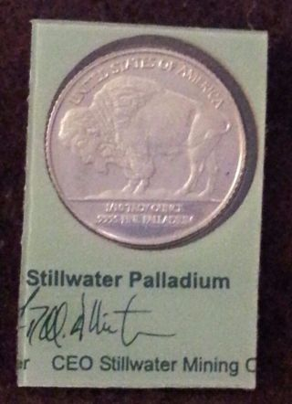 2004 Stillwater 1/10 Ounce Oz Palladium Lewis & Clark Buffalo.  9995 Fine Round photo