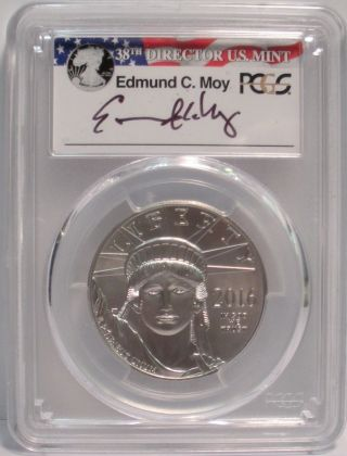 2016 Platinum Eagle - Pcgs Ms70 - Signed By Edmund C.  Moy 38th Director photo