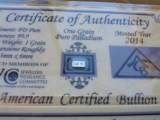 Acb Palladium 99.  9 Pure 1grain With Precious Metal Very Rare Bullion Pd Bar. photo