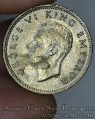 Zealand 6 Pence 1942 Au/unc Silver Km 8 6p George Vi Huia Bird Key Date photo