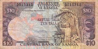 Samoa 10 Tala Nd.  1985 P 27a Series D Circulated Banknote Msp29 photo