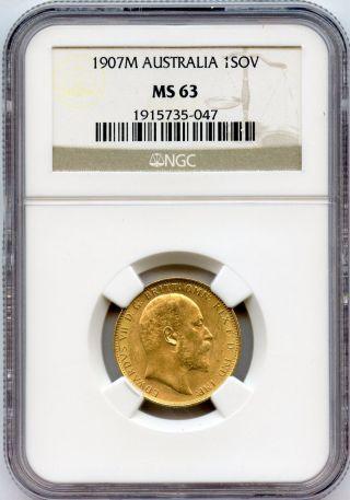 1907 M Australia 1 Sovereign Ngc Ms 63 Luster photo