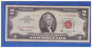 1963 $2 Dollar Bill Old Us Note Legal Tender Paper Money Currency Red Seal A745 photo