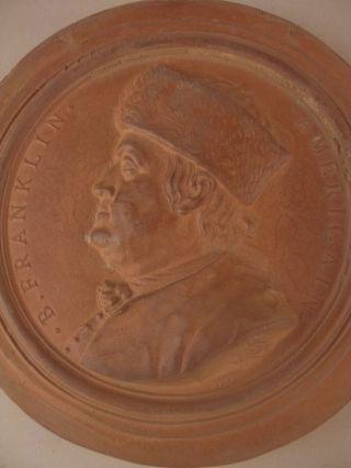 Ben Franklin Medallion Plaster Intaglio Stamped Nini & 1777 French Italian Style photo