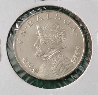 1966 Panama Balboa ☆ Silver Coin ☆ Km 27 photo