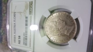 Austria 1 Florin 1858 A,  Au 58 Ngc photo