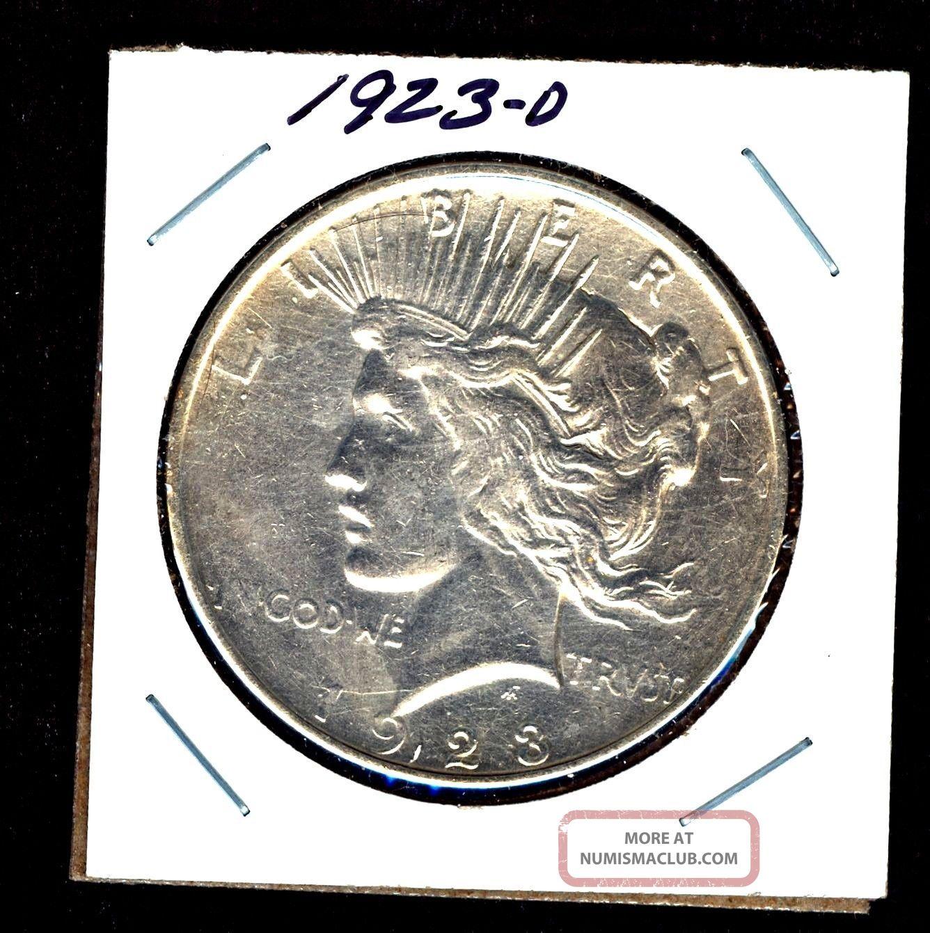 1923 D,  Unc Bu Denver 90 Silver Peace Dollar U S Coin 358631 Dollars photo