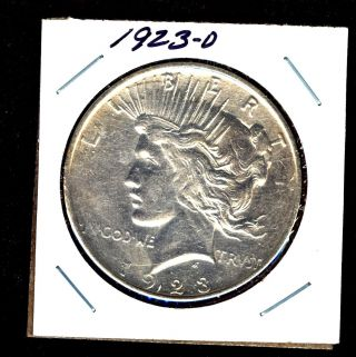 1923 D,  Unc Bu Denver 90 Silver Peace Dollar U S Coin 358631 photo
