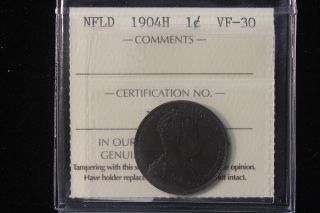1904 H Canada / Newfoundland.  Large Cent.  Iccs Graded Vf - 30.  (xmi371) photo