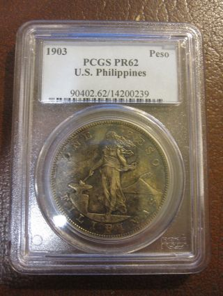 1903 U.  S.  Philippines Proof Silver Peso Pcgs Pr62 photo