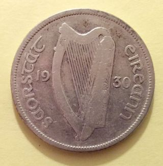 1930 Silver Irish Half Crown.  Ireland.  Eire Horse Coin. photo