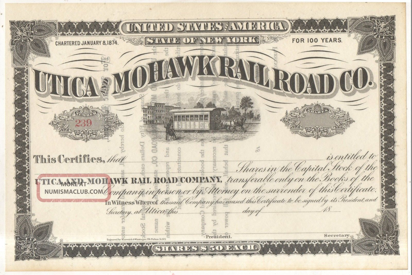 Utica And Mohawk Railroad Co Trolley Horse Car Ny York Stock Certificate Transportation photo