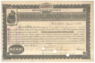 Philadelphia And Reading Railroad Company 1893 $1000 Bond Certificate photo
