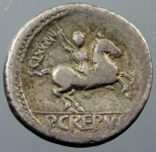 P.  Crepusius,  Apollo,  Sceptre,  Soldier On Horseback,  Denarius,  Silver,  82 Bc photo